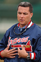 Dayton Moore, director of player development for the Atlanta Braves, speaks with Minor League players at the Atlanta Braves Spring Training site at Disney's Wide World of Sports in Kissimmee, Florida, March 7, 2005. Moore later became general manager of the Kansas City Royals in 2006. (Tom Priddy/Four Seam Images)