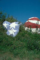 Rocks painted with US flag stars and stripes. Wisconsin USA