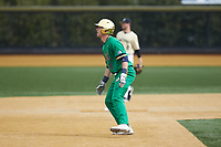 Carter Putz (4) of the Notre Dame Fighting Irish takes his lead off of second base against the Wake Forest Demon Deacons at David F. Couch Ballpark on March 10, 2019 in  Winston-Salem, North Carolina. The Demon Deacons defeated the Fighting Irish 7-4 in game one of a double-header.  (Brian Westerholt/Four Seam Images)