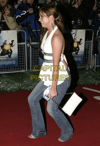 "BROOKE KINSELLA.Lemony Snicket's ""A Series of Unfortunate Events"" film premiere, Empire cinema, Leicester Square,.London, 16th December 2004..full length brunette white silver halterneck top jeans.Ref: AH.www.capitalpictures.com.sales@capitalpictures.com.©Capital Pictures..."