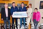 Waterville GAA presenting a cheque for €800 to the Iveragh Group Kerry Hospice Foundation on Tuesday evening money raised from the Paddy Fogarty Tribute night held in the Sea Lodge, pictured here l-r; Christy O'Connell, Tony Donnelly(Ass. Sec Waterville GAA), Seamus O'Sjhea(Chairman Watervill GAA), Trish O'Sullivan & Mairead Lynch.