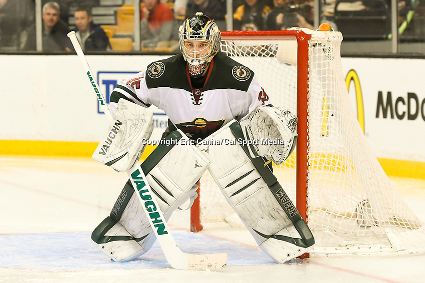 March 17, 2014 - Boston, Massachusetts , U.S. - Minnesota Wild goalie Darcy Kuemper (35) in game action during the NHL game between the Minnesota Wild and the Boston Bruins held at TD Garden in Boston Massachusetts. The Bruins defeated the Wild 4-1 at the end of regulation.  Eric Canha/CSM