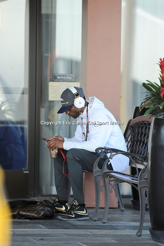Tuesday, February 2, 2016: Denver Broncos wide receiver Emmanuel Sanders (10) sits on a bench at the team's hotel in Santa Clara, California before a press conference for the National Football League Super Bowl 50 between the Denver Broncos and the Carolina Panthers. Eric Canha/CSM