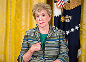 Administrator of the Small Business Administration (SBA) Linda McMahon speaks following United States President Donald J. Trump's remarks at an event with small businesses in the East Room of the White House in Washington, DC on Tuesday, August 1, 2017.<br /> Credit: Ron Sachs / CNP