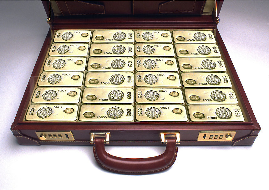 Briefcase full of gold bars