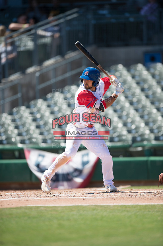 Stockton Ports first baseman Alfonso Rivas (10) during a California League game against the San Jose Giants on April 9, 2019 in Stockton, California. San Jose defeated Stockton 4-3. (Zachary Lucy/Four Seam Images)