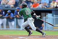 Augusta GreenJackets center fielder Jesus Galindo #33 swings at a pitch during a game against the Asheville Tourists at McCormick Field on June 27, 2013 in Asheville, North Carolina. The Tourists won the game 10-6. (Tony Farlow/Four Seam Images)
