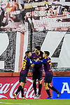 Luis Alberto Suarez Diaz of FC Barcelona celebrates with teammates for scoring during the La Liga 2018-19 match between Rayo Vallecano and FC Barcelona at Estadio de Vallecas, on November 03 2018 in Madrid, Spain. Photo by Diego Gouto / Power Sport Images