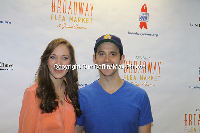 Laura Osnes & Santino Fantana at the 27th Annual Broadway Flea Market & Grand Auction to benefit Broadway Cares/Equity Fights Aids in Shubert Alley, New York City, New York.  (Photo by Sue Coflin/Max Photos)