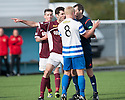 Penalty controversy number 1 : Referee Alan Muir gets it from both sides after Morton's Declan McManus knocked the ball past Stenny goalkeeper Greg Fleming before hitting the ground. Stenny's Martin Grehan wants him booked for diving whilst Morton's Connor Pepper wants a penalty.