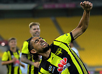 David Williams celebrates his second goal during the A-League football match between Wellington Phoenix and Newcastle Jets at Westpac Stadium in Wellington, New Zealand on Saturday, 30 March 2019. Photo: Dave Lintott / lintottphoto.co.nz