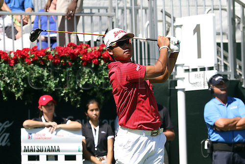 22.09.2016. Atlanta, Georgia, USA.  Co-leader  Hideki Matsuyama tees off for the opening round of the 2016 PGA Tour Championship at East Lake Golf Club in Atlanta, Georgia.
