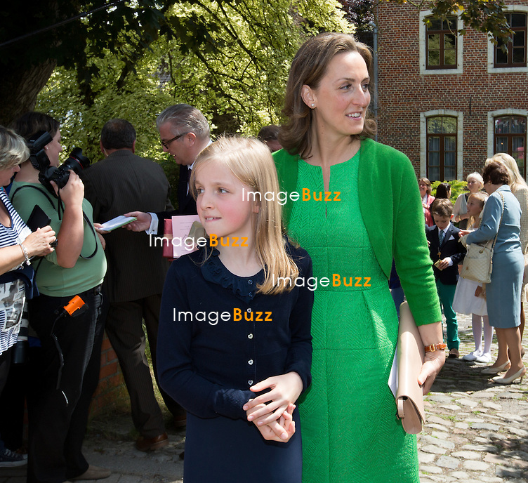 Princess Claire of Belgium, Princess Louise of Belgium attend the first communion of twin princes Nicolas and Aymeric of Belgium, at the Sainte-Catherine church, in Bonlez, Belgium.<br /> 29 May 2014.