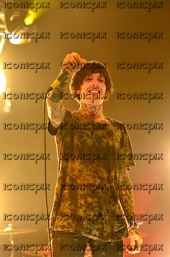 BRING ME THE HORIZON- vocalist Oliver Sykes - performing live on Day 2 on the In New Music We Trust Stage at the BBC Radio 1 Big Weekend held in Ebrington Square Londonderry Northern Ireland UK - 25 May 2013.  Photo credit: George Chin/IconicPix