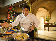 An Italian chef makes an authentic seafood pasta dish.