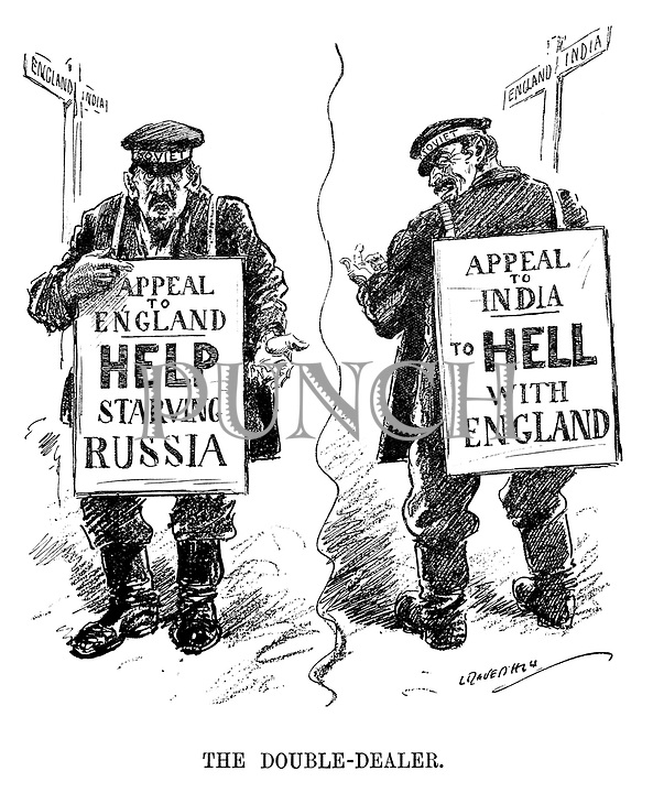 The Double-Dealer. (an InterWar era cartoon showing the two faced Soviet Appeal To England - Help Starving Russia and Appeal To India - To Hell With England)