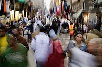 Blurred motion in crowded street, Khan el Khalili Bazaar, Cairo, Egypt