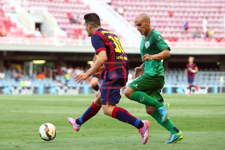 League Adelante 2014/2015. Game: 2.<br /> FC Barcelona B vs CE Sabadell: 3-1.<br /> Joan Roman vs Javi Hervas.