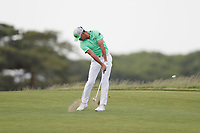 Rafa Cabrera Bello (ESP) hits his approach shot on the 18th hole during the third round of the 118th U.S. Open Championship at Shinnecock Hills Golf Club in Southampton, NY, USA. 16th June 2018.<br /> Picture: Golffile | Brian Spurlock<br /> <br /> <br /> All photo usage must carry mandatory copyright credit (&copy; Golffile | Brian Spurlock)