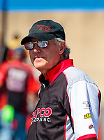 Sep 16, 2018; Mohnton, PA, USA; Richard Hogan , crew chief for NHRA top fuel driver Steve Torrence during the Dodge Nationals at Maple Grove Raceway. Mandatory Credit: Mark J. Rebilas-USA TODAY Sports