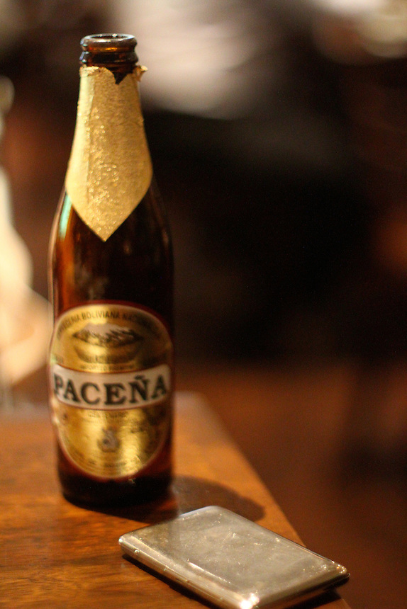 Pacena Bolivian beer and a cigarette case