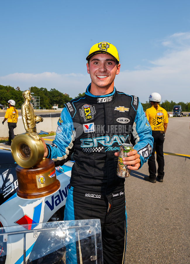 Aug 20, 2017; Brainerd, MN, USA; NHRA pro stock driver Tanner Gray celebrates after winning the Lucas Oil Nationals at Brainerd International Raceway. Mandatory Credit: Mark J. Rebilas-USA TODAY Sports