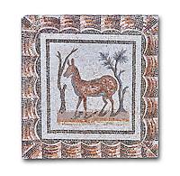 3rd century AD Roman mosaic depiction of two deer between two shrubs. Thysdrus (El Jem), Tunisia.  The Bardo Museum, Tunis, Tunisia. White background