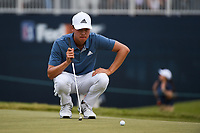Brandon Wu (USA) lines up his putt on 18 during round 4 of the 2019 Houston Open, Golf Club of Houston, Houston, Texas, USA. 10/13/2019.<br /> Picture Ken Murray / Golffile.ie<br /> <br /> All photo usage must carry mandatory copyright credit (© Golffile | Ken Murray)