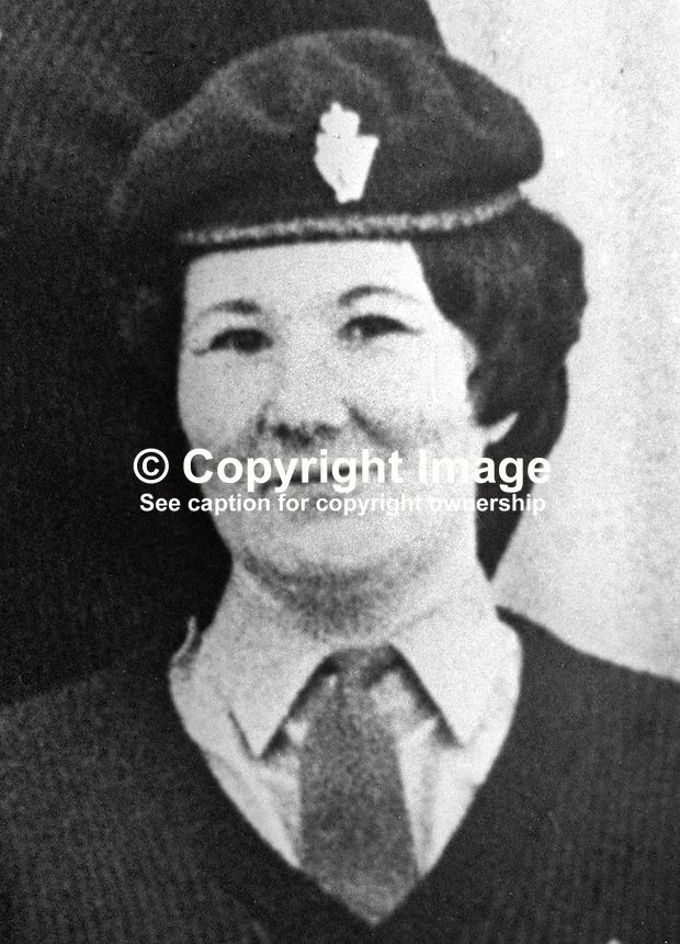 Gillian Liggett, 33 years, married, 2 children, native of Leominster, England, and a member of the UDR, Ulster Defence Regiment, who was shot dead in a Provisional IRA ambush in South Armagh on 6th April 1976. She had previously been in Women's Royal Army Corps. 197604060192A..Copyright Image from Victor Patterson, 54 Dorchester Park, Belfast, United Kingdom, UK...For my Terms and Conditions of Use go to http://www.victorpatterson.com/Victor_Patterson/Terms_%26_Conditions.html