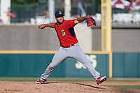 Springfield Cardinals pitcher Junior Fernandez (19) during a Texas League game against the Frisco RoughRiders on May 5, 2019 at Dr Pepper Ballpark in Frisco, Texas.  (Mike Augustin/Four Seam Images)