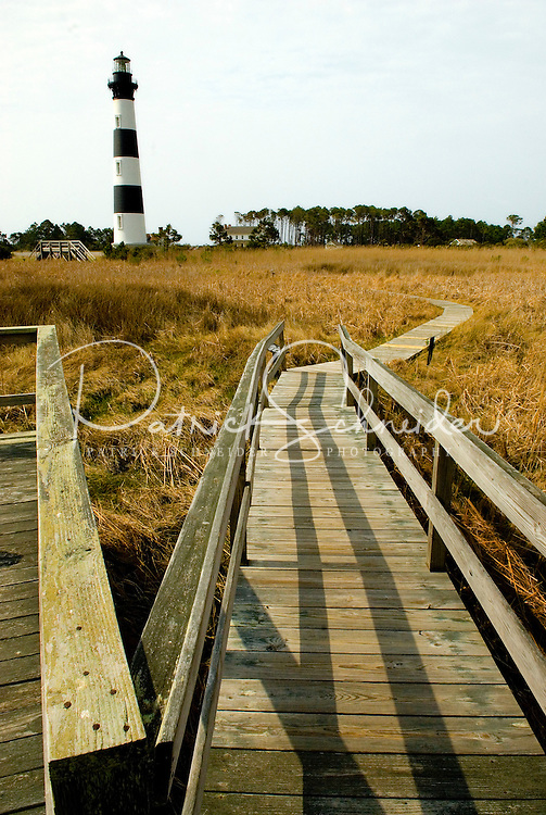 Bodie Island Lighthouse stands 156 feet tall on the Outer Banks of North Carolina.