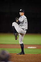 Staten Island Yankees relief pitcher Keegan Curtis (33) delivers a pitch during a game against the Aberdeen IronBirds on August 23, 2018 at Leidos Field at Ripken Stadium in Aberdeen, Maryland.  Aberdeen defeated Staten Island 6-2.  (Mike Janes/Four Seam Images)