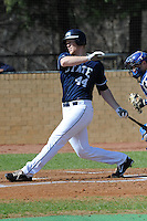 All American Paul Hoilman #44 of East Tennessee State University follows through on his swing at Greenwood Field against the the University of North Carolina Asheville on March 2, 2011 in Asheville, North Carolina.  East Tennessee State University won 13-5.  Photo by Tony Farlow / Four Seam Images..