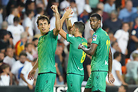 Real Sociedad's Mikel Oyarzabal, Mikel Merino and Alexander Isak celebrate during La Liga match. August 17,2019. (ALTERPHOTOS/Acero)<br /> Liga Spagna 2019/2020 <br /> Valencia - Real Sociedad<br /> Foto Alterphotos / Insidefoto <br /> ITALY ONLY