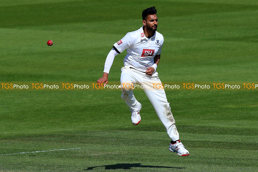 Ajmal Shahzad of Sussex leaps into the air during Sussex CCC vs Essex CCC, Specsavers County Championship Division 2 Cricket at The 1st Central County Ground on 20th April 2016