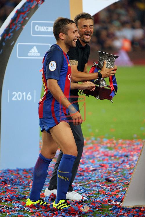 League Santander 2016/2017.<br /> Supercopa de Espa&ntilde;a - Vuelta.<br /> FC Barcelona vs Sevilla FC: 3-0.<br /> Jordi Alba &amp; Luis Enrique Martinez.