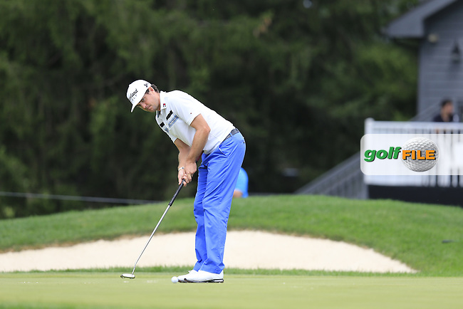 Keegan Bradley (USA) putts on the 16th green during Friday's Round 1 of the 2013 Bridgestone Invitational WGC tournament held at the Firestone Country Club, Akron, Ohio. 2nd August 2013.<br /> Picture: Eoin Clarke www.golffile.ie