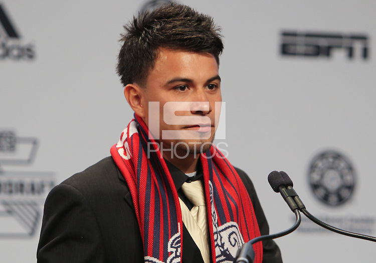 Indianapolis, IN, Thursday, Jan. 17, 2013: 2013 MLS Superdraft number two pick Carlos Alvarez goes to Chivas USA.