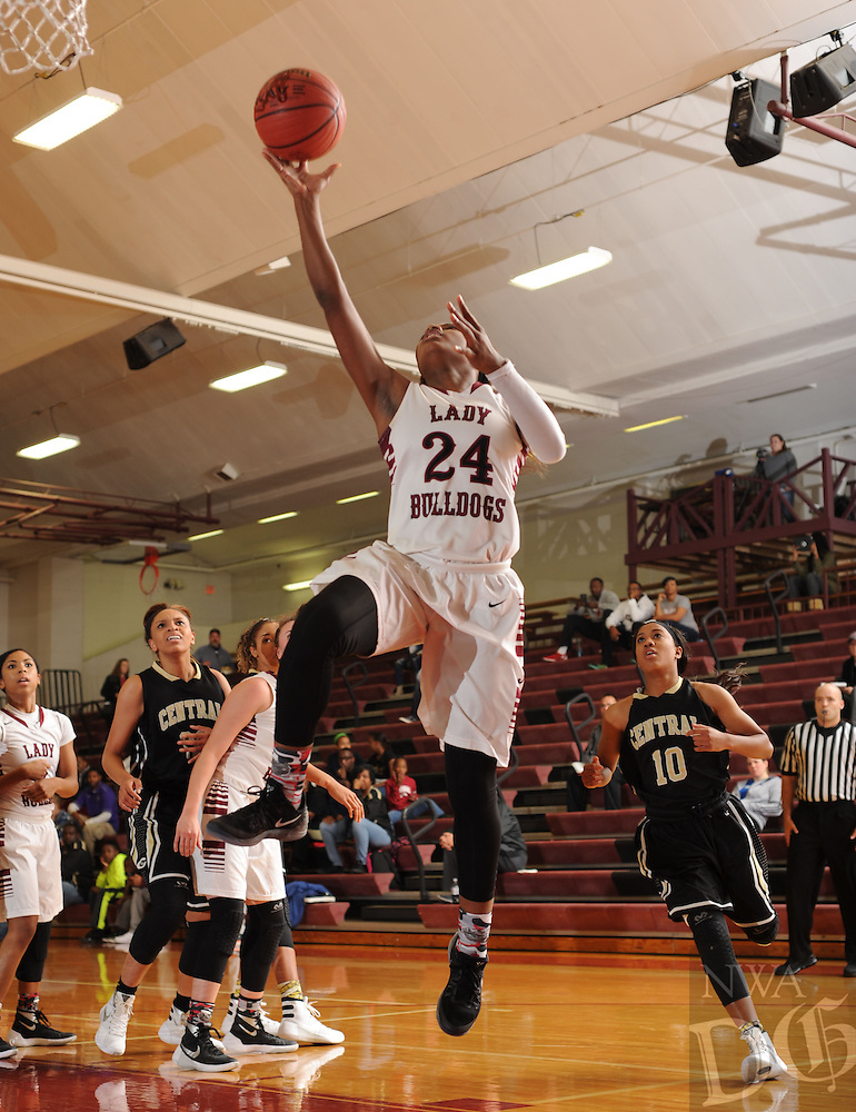 NWA Democrat-Gazette/ANDY SHUPE<br /> of Springdale of Little Rock Central Tuesday, Nov. 24, 2015, at Bulldog Gymnasium in Springdale. Visit nwadg.com/phtoos to see more photographs from the game.
