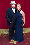 © Licensed to London News Pictures . 16/05/2015 .  The Palace Hotel , Manchester , UK . Joe Duttine and Sally Dynevor . The red carpet at the 2015 British Soap Awards , The Palace Hotel , Oxford Road , Manchester . Photo credit : Joel Goodman/LNP