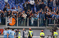 Calcio, Serie A: Roma vs Lazio. Roma, stadio Olimpico, 8 novembre 2015.<br /> Lazio's players face their fans at the end of the Italian Serie A football match between Roma and Lazio at Rome's Olympic stadium, 8 November 2015. Roma won 2-0.<br /> UPDATE IMAGES PRESS/Riccardo De Luca