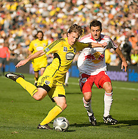 Brian Carroll shields Sinisa Ubiparipovic during MLS Cup 2008. Columbus Crew defeated the New York Red Bulls, 3-1, Sunday, November 23, 2008. Photo by John Todd/isiphotos.com