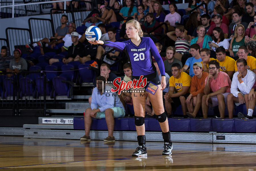 Haley Barnes (20) of the High Point Panthers prepares to serve the ball during the match against the UNC Greensboro Spartans at Millis Athletic Center on September 16, 2014 in High Point, North Carolina.  The Panthers defeated the Spartans 3-0.   (Brian Westerholt/Sports On Film)