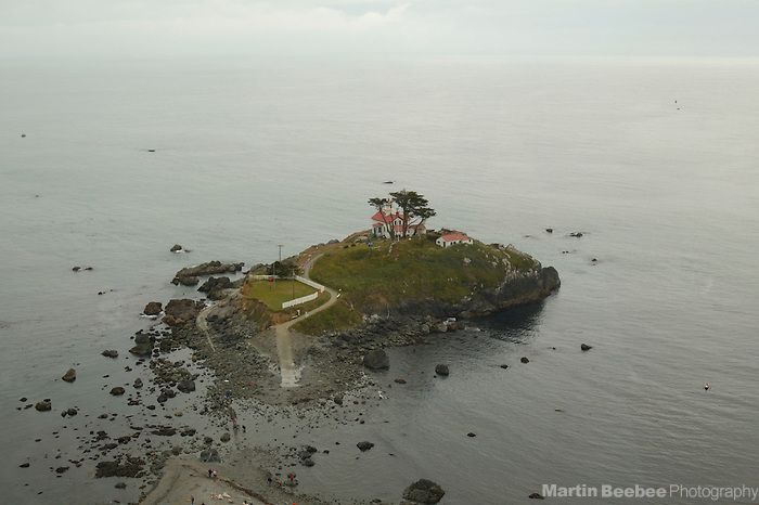 Battery Point Lighthouse is perched on an island that is only accessible at low tide, Crescent City, California