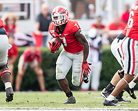 ATHENS, GA - OCTOBER 12: D'Andre Swift #7 of the Georgia Bulldogs makes a run with the ball during a game between University of South Carolina Gamecocks and University of Georgia Bulldogs at Sanford Stadium on October 12, 2019 in Athens, Georgia.