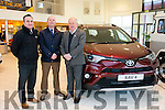 Jerry O'Sullivan, Sales, Tim Kelleher, MD, and Tom O'Riordan, Sales Manager Kellihers Garage sales team with the new Rav4.