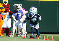04 October 2009: Seattle sports mascots took part with fellow mascots in a pre game obstacle course before the start of the game against the Texas Rangers. Seattle won 4-3 over the Texas Rangers at Safeco Field in Seattle, Washington.