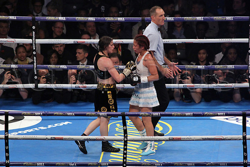 28th October 2017, Principality Stadium, Cardiff, Wales; World Heavyweight Boxing, Anthony Joshua versus Carlos Takam, Undercard fight;  Katie Taylor Versus Anahi Sanchez for the WBA Womens Lightweight world championship; Katie Taylor and Anahi Sanchez come together after the final bell