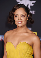 LOS ANGELES, CA - OCTOBER 10: Actress Tessa Thompson arrives at the premiere of Disney and Marvel's 'Thor: Ragnarok' at the El Capitan Theatre on October 10, 2017 in Los Angeles, California.<br /> CAP/ROT/TM<br /> &copy;TM/ROT/Capital Pictures