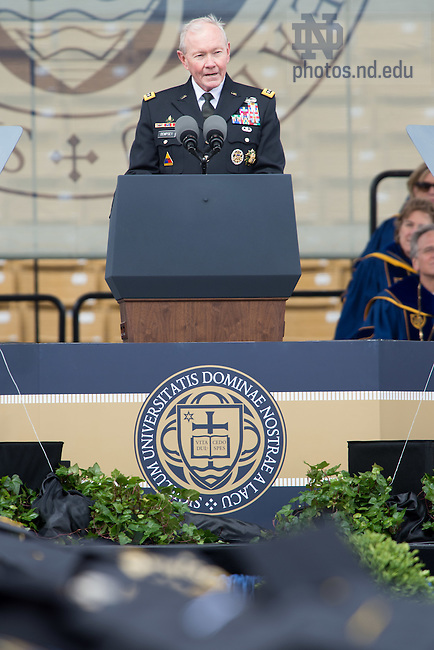 May 15, 2016; Commencement 2016 speaker General Martin Dempsey gives the Commencement Address. (Photo by Matt Cashore/University of Notre Dame)